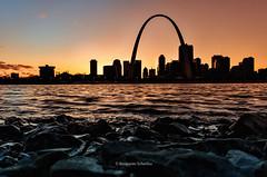 Sunset on The Rocks (B.L. Scherliss) Tags: stlouis gatewayarch mississippiriver stlouisarch stlouismissouri downtownstlouis