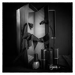 grosgrain and stripes (Wendy:) Tags: black dark stripes ribbon visualart filmnoir odc parallellines tiltshift grosgrain nikfilters