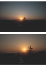fleeting moments (ConcreteLies) Tags: orange sun color yellow sunrise outside outdoors diptych moments warmth rays