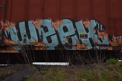 WEEK (TheGraffitiHunters) Tags: street pink blue orange white black art car train graffiti colorful paint box tracks spray week boxcar freight benched benching