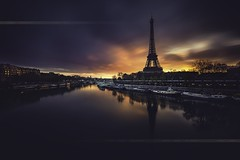 Paris Wake Up (F.20.100) Tags: city longexposure bridge light sky paris tower seine fire europe cityscape eiffel toureiffel parisian birhakeim