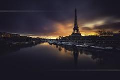 Paris Wake Up (F.20.100) Tags: city longexposure bridge light sky paris tower seine fire europe cityscape eiffel toureiffel parisian birhakeim