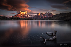 This is just the Beginning (SharonWellings) Tags: chile autumn red lake southamerica water sunrise landscape driftwood lakepehoe sharonwellings