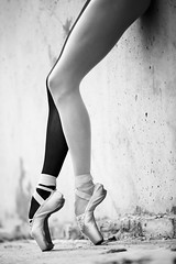 Ballerina Tip-Toe (navid.haghnegahdar) Tags: urban ballet woman white black art texture girl beautiful beauty closeup modern lady female concrete person dance model ballerina warm industrial different exercise outdoor body background leg young dancer tights ukraine grace crop attractive cropped ribbon pointe knee graceful gymnastic caucasian