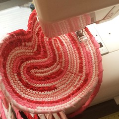"""With a cup of coffee at my side, it is time to answer the important question: how many heart shaped baskets can I stitch today?  #1840farm #handmade #fabric #sew #basket • <a style=""""font-size:0.8em;"""" href=""""http://www.flickr.com/photos/54958436@N05/23983210583/"""" target=""""_blank"""">View on Flickr</a>"""