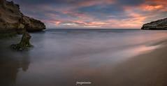 Calblanque Pano (joaquinain) Tags: sunset seascape clouds marina long exposure mediterraneo voigtlander paisaje olympus murcia nubes puesta seda omd larga em1 exposicin calblanque dn1000
