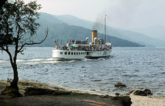 'Maid of the Loch' (rear) dep. Rowardennan. Jul'80. (David Christie 14) Tags: lochlomond rowardennan maidoftheloch