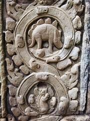 dinosaur in Angkor (SM Tham) Tags: monochrome wall temple cambodia khmer dinosaur unescoworldheritagesite angkor taprohm stegosaurus stonecarvings basreliefs jayavarmanvii