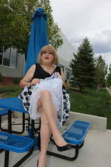 new115208-IMG_2196t (Misscherieamor) Tags: tv sitting transformation feminine cd femme tgirl transgender mature sissy tranny transvestite crossdress ts gurl tg picnictable travestis prettydress travesti travestido travestie m2f xdresser tgurl traviesa travestito travestit showingslip