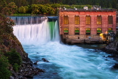 Nine Mile Dam (Gabriel Tompkins) Tags: old longexposure red usa motion green water rock architecture america river waterfall washington movement nikon colorful warm dam vibrant tripod landmark historic reservoir erosion explore pacificnorthwest historical aged nikkor dslr washingtonstate iconic pnw magichour goldenhour manfrotto eroded hydropower d90 ninemilereservoir explored 2013 ninemilefalls 55300 nikond90 ninemiledam 55300mm 7302yb manfrotto7302yb 55300mmf4556gvr tronam gabrieltompkins tronamcom