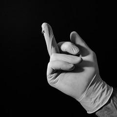 Bend Over.  This Might Actually Be Pleasant (Oliver Leveritt) Tags: blackandwhite monochrome hand finger flash kitlens speedlight cls kyjelly sb800 latexglove offcameraflash creativelightingsystem nikoncls su800 su800wirelessspeedlightcommander afsdxnikkor1855mmf3556gvr garyfonglightspherecloud oliverleverittphotography nikond7100