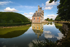 """mini Versailles of Chateau Beaumesnil reflected in a flawless moat under blue sky Normandy, France (grumpybaldprof) Tags: old summer vacation sky holiday france castle monument water clouds reflections hall july bluesky tourist historic chateau moat normandy renaissance hdr waterreflections beaumesnil dongeon perfectreflections """"chateaudebeaumesnil"""" """"l'eure"""" """"louisxvi"""" """"normandyversailles"""""""