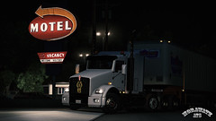 ats_00208 (ets2.morawatz) Tags: shadow night turn truck lights artwork neon dof parking motel trailer tnt semitruck trucking ats kenworth t800 usfholland hollandmotorexpress morawatz americantrucksimulator
