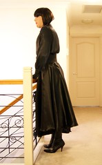 Black Night (7) (Furre Ausse) Tags: black leather belt dress boots skirt blouse gloves satin cincher governess gouvernante