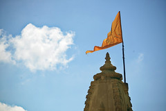 Temple Flag [Explored] (Bhaskar Dutta) Tags: blue sky orange cloud india temple flag gujarat dwarka thechallengefactory
