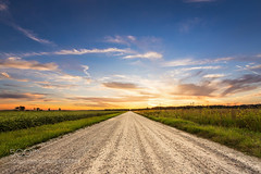 Take Me Home (hmbautista) Tags: road sunset sky clouds rural landscape evening back big oak midwest long alone walk farm country warmth indiana farmland ag fisher isolation lonely wildflowers roads prairie agriculture exploration gravel niches fisheroak