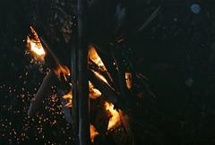 Sparks (Rachael.Robinson) Tags: winter light canada color film 35mm island fire flames bonfire fujifilm sparks campobello