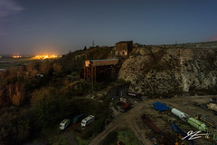 A Civilisation Long Dead (Tim van Zundert) Tags: light england sky cliff west abandoned night stars landscape sussex evening industrial decay sony south voigtlander cement scenic east works derelict quarry shoreham 21mm ultron a7r