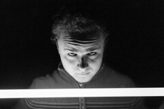 Day 50 - A Question Asked (jPersolus) Tags: shadow blackandwhite man monochrome face scary days creepy lightsaber 365 challenge