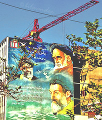 Tehran, billboard with Ayatollahs of the Islamic Revolution (1979) & the Shia Islamic Republic of Iran (bilwander) Tags: tehran martyrs ayatollah khomeini iraniraqwar ruhollahkhomeini bilwander earthasia alikhamenei akbarhashemirafsanjani muraltehran