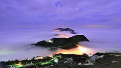 頂石棹~月光雲海.....琉璃~   Moon Light clouds sea (Shang-fu Dai) Tags: clouds landscape waterfall nikon taiwan moonlight af formosa 台灣 阿里山 alishan d800 嘉義 雲海 月光 番路 戶外 雲瀑 2870mmf35 頂石棹