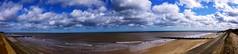 Norfolk Coast (Alan FEO2) Tags: uk blue sea england sky panorama white water clouds landscape coast sand outdoor horizon norfolk seawall shore breakwater bacton 2oef