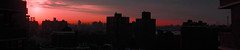 Sunrise Looking East From Lower East Side Manhattan To Williamsburg BrooklyIn NY In A Panoramic Format (nrhodesphotos(the_eye_of_the_moment)) Tags: nyc windows red urban orange silhouette metal skyline architecture brooklyn sunrise buildings waterfront outdoor manhattan perspective panoramic east eastriver urbanology dsc06203160