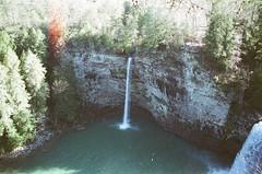 Shot #21, Roll #2 (imkaifilbey) Tags: tree film 35mm river dark waterfall shadows minolta basin grainy plume plummet
