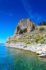 Cave Rock, Nevada (scaturchio) Tags: statepark vacation sky mountain lake beach rock boat nevada scenic tahoe laketahoe august shore cave viewpoint volcanic caverock boatramp 2015 nevadastatepark
