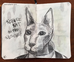 Art Journal Page J97 Koffee Kat To The Rescue (karinaltarts) Tags: rescue art coffee cat words text journal watercolour artjournal
