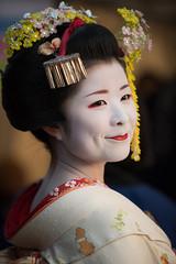 (byzanceblue) Tags: red flower detail cute girl beauty smile japan rouge japanese kyoto traditional maiko geisha   kimono gion  trad    kanzashi        gionhigashi   kanona