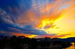 Sunset at Bluff View (Roland 22) Tags: reflection huntermuseumofamericanart beautiful clouds sky blue yellow golden orange red bluffviewartdistrict walnutstreetbridge glow dusk evening sunset tennesseeriver chattanoogatennessee flickr