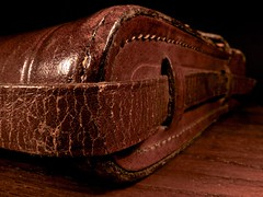Bag (Nicolas -) Tags: camera wood old brown france detail macro heritage history texture leather corner vintage bag mood dof angle sac perspective used strap weathered zeissikon marron antic bois 1937 ancien ambiance antiquit cuir nettar us profondeurdechamp nicolasthomas sangle macromondays