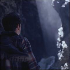 (Zavras) Tags: summer guy 120 mamiya film june square colorado purple boots hiking exploring adventure flannel medium format cave sunbeams ektar 100iso 2015 c330 zavras