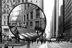 Two Cities in One (Andy Marfia) Tags: street selfportrait chicago reflection mirror loop f56 iso320 thompsoncenter washingtonst daleyplaza clarkst 1125sec d7100 1685mm