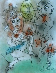 ll. JÉSUS CHARGÉ DE SA CROIX (Claude Bolduc) Tags: outsiderart cross surrealism jesus stationsofthecross lowbrow visionaryart chemindecroix intuitiveart