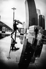 Singing in the rain (tomabenz) Tags: street urban blackandwhite paris reflection monochrome rainyday noiretblanc streetphotography fisheye streetview ladfense sonya7rm2 a7rm2