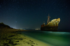 Lonely Under the Stars (free3yourmind) Tags: blue sea green beach water night stars ship under greece shipwreck lonely nightsky peloponnese dimitrios gythio gytheio