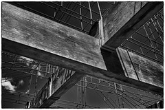 Diagonals In All Directions (Rolf Siggaard) Tags: wood bw abstract building monochrome metal architecture blackwhite shapes environmental structure symmetry manmade c1 captureone mirrorless fujix100s x100s 23mmapsc