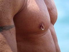 IMG_1197 (danimaniacs) Tags: shirtless pierced man hot sexy guy beach pecs tattoo muscle muscular jewelry stud