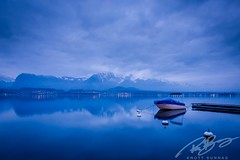 (Siam_K) Tags: vacation mountain lake snow water switzerland evening boat thun bluehour stillness mirrorless