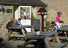 At Hirsel Cafe (Tony Worrall Foto) Tags: county uk boy woman man bike relax outside scotland cafe stream tour open place candid country north scottish sunny visit location tourist seats cycle area rest sat sunlit tearoom benches northern update borders attraction scots scottishborders welovethenorth thehirselcentreforartsandcrafts
