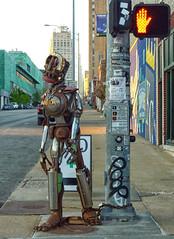 Challenge Week 15 - Artistic - Metal (Gwen's River City Images) Tags: sculpture art metal robot crosswalk dogwoodweek15