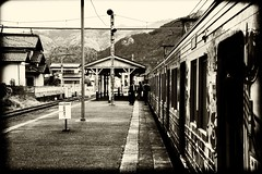 Stray Station (H.H. Mahal Alysheba) Tags: railroad monochrome station japan sepia train nikon snapshot nikkor afs d800 2485mmf3545