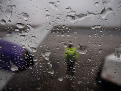 A very wet day in Kirkwall airport (ccgd) Tags: scotland orkney saab kirkwall 340 loganair flybe