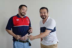 Me and my shadow - His fat belly is 3D! (ys.khoo) Tags: portrait man beard photography twins bea creative indoor canterbury belly acting funphoto beardman rugbywear yskhoo