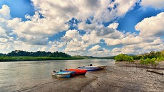 Idle State (Sanjiban2011) Tags: sky cloud india nature water skyline clouds river skyscape landscape boats nikon colours waterfront cloudy outdoor horizon sunny wideangle bluesky shore d750 fullframe fx tamron cloudscape backwater andaman waterscape baratangisland tamron1530