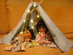 Can we sleep in our tent,please? (Nina) Tags: miniature tan tent blythe custom rement tbl heathersky