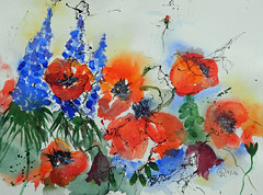 329 Poppies and larkspur (Wuwus Bilder) Tags: kunst aquarell mohn rittersporn