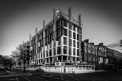 Construction in Dublin (davidjhumphries) Tags: street city ireland sky blackandwhite dublin building architecture canon construction angle crane terrace dusk wide l series hatch crossroads development 1740mm hdr 2016 0416 earlsfort 5dmkii 250416